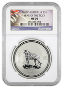 (2007)2010 Australia S$1 Silver Year of the Tiger NGC MS70 Mint State 70 ***EXCLUSIVE LABEL***
