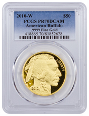 2010-W 1 oz Gold Buffalo Proof $50 PCGS PR70 DCAM