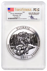 2011 Olympic 5 oz. Silver America the Beautiful Coin PCGS MS69 DMPL FS Mercanti Signed Flag Label Only 4 Graded Non Higher!
