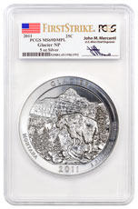 2011 Glacier 5 oz. Silver America the Beautiful Coin PCGS MS69 DMPL FS Mercanti Signed Flag Label