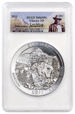 2011 Glacier 5 oz. Silver America the Beautiful Coin PCGS MS69 PL Theodore Roosevelt Label