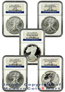 2011 25th Anniversary Silver Eagle 5 Coin Set (A25) NGC PF70 and MS70