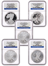 2011 Silver Eagle 25th Anniversary 5-Coin Set NGC PF70 ER