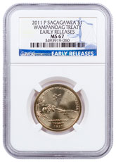 2011-P Sacagawea Wampanoag Treaty $1 Dollar NGC MS67 ER Mint State 67 Early Releases