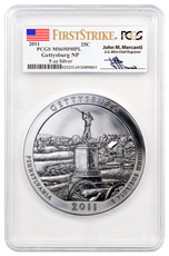 2011 Gettysburg 5 oz. Silver America the Beautiful Coin PCGS MS69 DMPL FS Mercanti Signed Flag Label