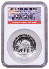 2011-P Australia 1 oz High Relief Silver Kangaroo Proof $1 NGC PF70 UC One of First 4000 Struck Australia Flag Label
