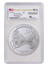 2011-P Chickasaw 5 oz. Silver America the Beautiful Specimen Coin PCGS SP69 Mercanti Signed Beautiful Parks Series Flag Label