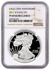 2011-W 25th Anniversary Silver Eagle Proof NGC PF69