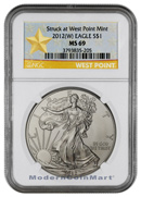 2012(W) Silver Eagle Struck at West Point Mint NGC MS69 Mint State 69 ***STAR LABEL***
