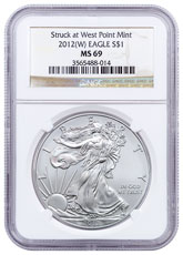 2012-(W) Silver Eagle Struck at West Point NGC MS69