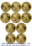 Lot of 10 2012 $5 1/10 Oz Gold Eagles Gem Brilliant Uncirculated