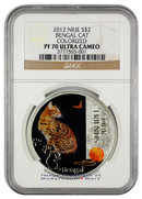 2012 Niue Proof Colorized Silver Bengal Cat $2 NGC PF70 UC Proof 70 Ultra Cameo ***NEW ARRIVAL***