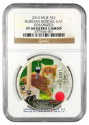 2012 Niue Proof Colorized Silver Kurilian Bobtail Cat $2 NGC PF69 UC Proof 69 Ultra Cameo
