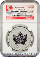 2012 Canada 1 oz Silver Maple Leaf $5 With Lunar Year of the Dragon Privy Mark NGC Specimen Brilliant Uncirculated ***EXCLUSIVE LABEL***