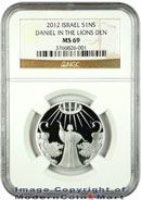 2012 Israel Silver Daniel In The Lions Den 1 Sheqalim NGC MS69 Mint State 69