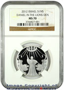 2012 Israel Silver Daniel In The Lions Den 1 Sheqalim NGC MS70 Mint State 70