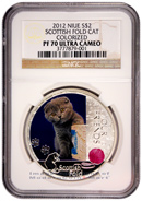 2012 Niue Proof Colorized Silver Scottish Fold Cat $2 NGC PF70 UC Proof 70 Ultra Cameo