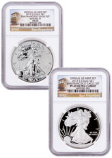 2012-S San Francisco Silver Eagle 2-Coin Set NGC PF69 UC (San Francisco Trolley Label)