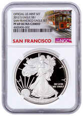 2012-S San Francisco Silver Eagle Proof NGC PF69 UC (San Francisco Trolley Label)