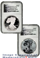 2012-S 75th Anniversary San Francisco 2 Coin Silver Eagle Set (EG1) NGC PF69UC Reverse PF69 FR Proof 69 First Releases American Liberty Series (ALS) Label