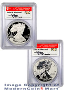 2012-S 75th Anniversary San Francisco 2 Coin Silver Eagle Set (EG1) Signed by John Mercanti PCGS PR69DCAM Reverse PR69 Proof 69 First Strike Golden Gate Label