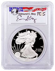 2012-W Proof American Silver Eagle PCGS PR69 DCAM Moy Signed Label