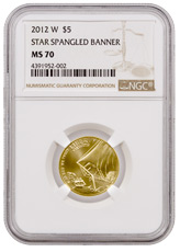 2012-W Star Spangled Banner Bicentennial $5 Gold Commemorative Coin NGC MS70