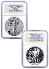 2013-W West Point Silver Eagle 2-Coin Set NGC PF70 ER (West Point Gold Star Label)
