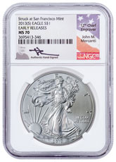 2013-(S) Silver Eagle Struck at San Francisco NGC MS70 ER Mercanti Signed Label
