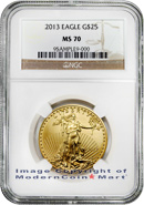 2013 $25 1/2 oz. Gold Eagle NGC MS70 Mint State 70 Brown Label