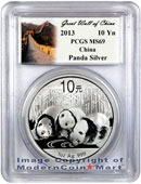 2013 China 1 Oz Silver Panda 10 Yuan PCGS MS69 Mint State 69