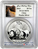 2013 China 1 Oz Silver Panda 10 Yuan PCGS MS70 Mint State 70