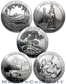 2013 5 Oz America The Beautiful 5 Coin National Park Set 25C Coins