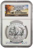2013 Canada 1 Ounce Silver Wood Bison $5 NGC MS69 ER Mint State 69 Early Releases ***BISON LABEL***