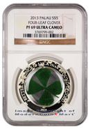 2013 Palau Silver Irish Lucky Four-Leaf Clover $5 Coin NGC PF69 UC Proof 69 Ultra Cameo