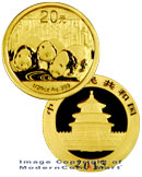 2013 China 1/20 Oz Gold Panda 20 Yuan Gem Brilliant Uncirculated