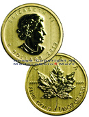 2013 Canada 1/10 Oz .9999 Gold Maple Leaf $5 Gem Brilliant Uncirculated