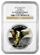 2013 Niue 1 Oz Colorized Silver Osprey $2 NGC PF70 UC Proof 70 Ultra Cameo