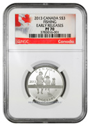 2013 Canada Silver Fishing $3 NGC PF70 ER Proof 70 Early Releases ***EXCLUSIVE LABEL***