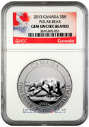 2013 Canada 1.5 Oz Silver Polar Bear $8 NGC Gem Uncirculated ***EXCLUSIVE LABEL***