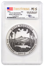 2013 White Mountain 5 oz. Silver America the Beautiful Coin PCGS MS69 DMPL FS Mercanti Signed Flag Label