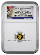2013-P Australia 0.5 Gram .9999 Fine Gold Koala $2 NGC PF69 UC ER Proof 69 Ultra Cameo Early Releases ***EXCLUSIVE LABEL***