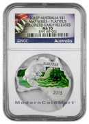 2013-P Australia 1 Oz Colorized Silver Map Shaped Series - Platypus $1 NGC MS70 ER Mint State 70 Early Releases ***EXCLUSIVE LABEL***