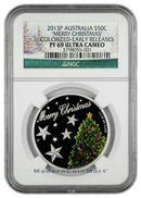 2013-P Australia Colorized Silver Merry Christmas - Christmas Tree 50 NGC PF69 UC ER Proof 69 Ultra Cameo Early Releases ***HOLIDAY LABEL***