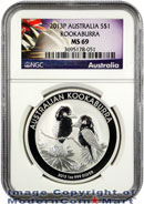 2013-P Australia 1 Oz Silver Kookaburra $1 NGC MS69 Mint State 69 ***EXCLUSIVE LABEL***