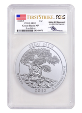 2013-P Great Basin 5 oz. Silver America the Beautiful Specimen Coin PCGS SP69 FS (Mercanti Signed Label)