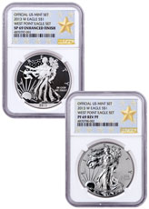 2013-W West Point Silver Eagle 2-Coin Set NGC PF69 (West Point Gold Star Label)