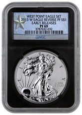 2013-W Reverse Proof Silver Eagle NGC PF69 (Black Core Holder - West Point Silver Star Label)