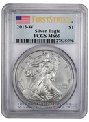 2013-W Burnished Silver Eagle PCGS MS69 FS Mint State 69 First Strike