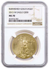 2013-W 1 oz Burnished Gold American Eagle $50 NGC MS70